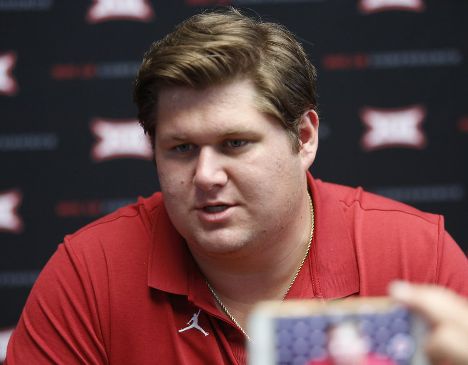 Photo - Oklahoma offensive lineman Creed Humphrey speaks to the media on the first day of Big 12 NCAA college football media days Monday, July 15, 2019, at AT&T Stadium in Arlington, Texas. (AP Photo/David Kent)