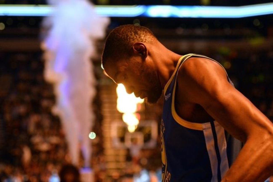 Photo -  Kevin Durant's obsession with leaving the Thunder hasn't subsided over the 38 months since the fireworks of July 4, 2016. [AP Photo/Brandon Dill]