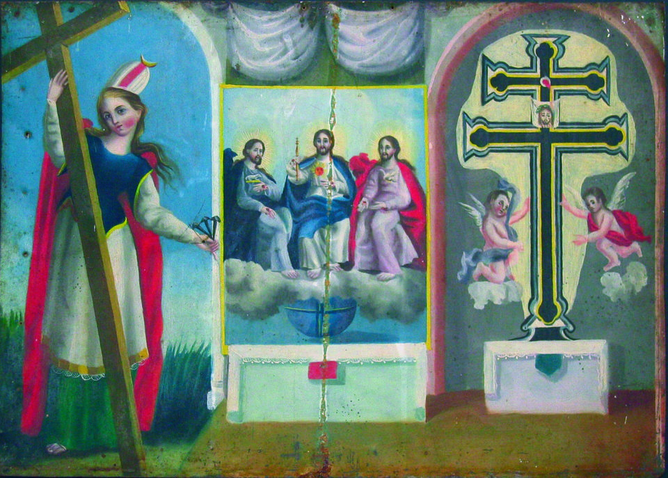 Maker Unknown Mexico Triple Retablo St Helen The Trinity And Cross Of Caravaca Painted Tin Undated PHOTO COURTESY OF NATIONAL COWBOY WESTERN