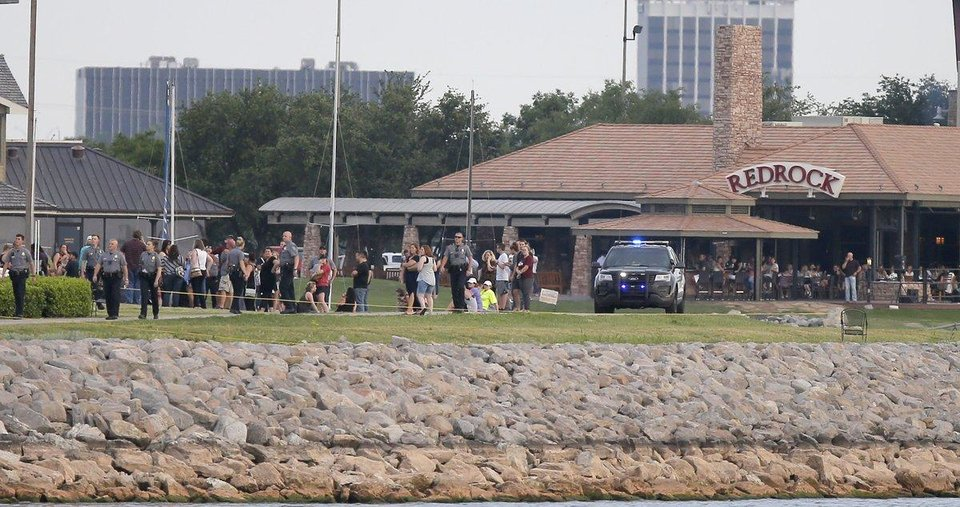 Photo - Police reported a shooting Thursday evening at Louie's Grill and Bar at Lake Hefner. [Photo by Bryan Terry]