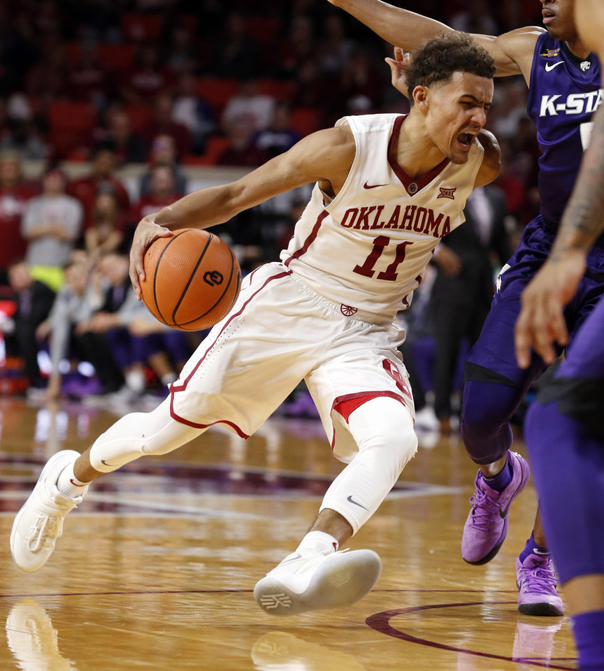 b72bed4a5f26 Oklahoma s Trae Young drives to the basket in the second half as the  University of Oklahoma Sooners (OU) play the Kansas State Wildcats in NCAA