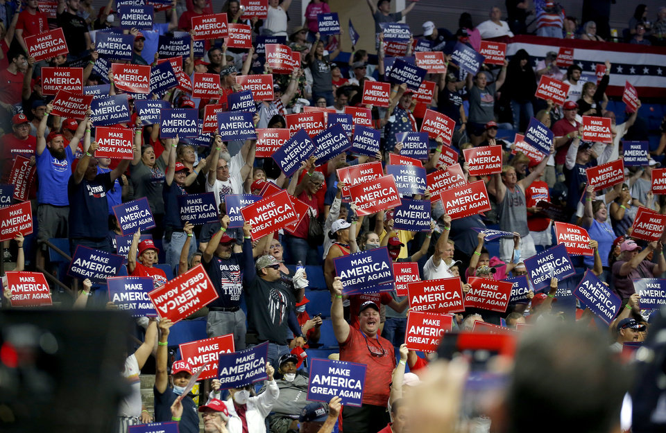 Photo - Supporters cheer before the President Donald Trump rally at the BOK Center in Tulsa, Okla., Saturday, June 20, 2020. [Sarah Phipps/The Oklahoman]