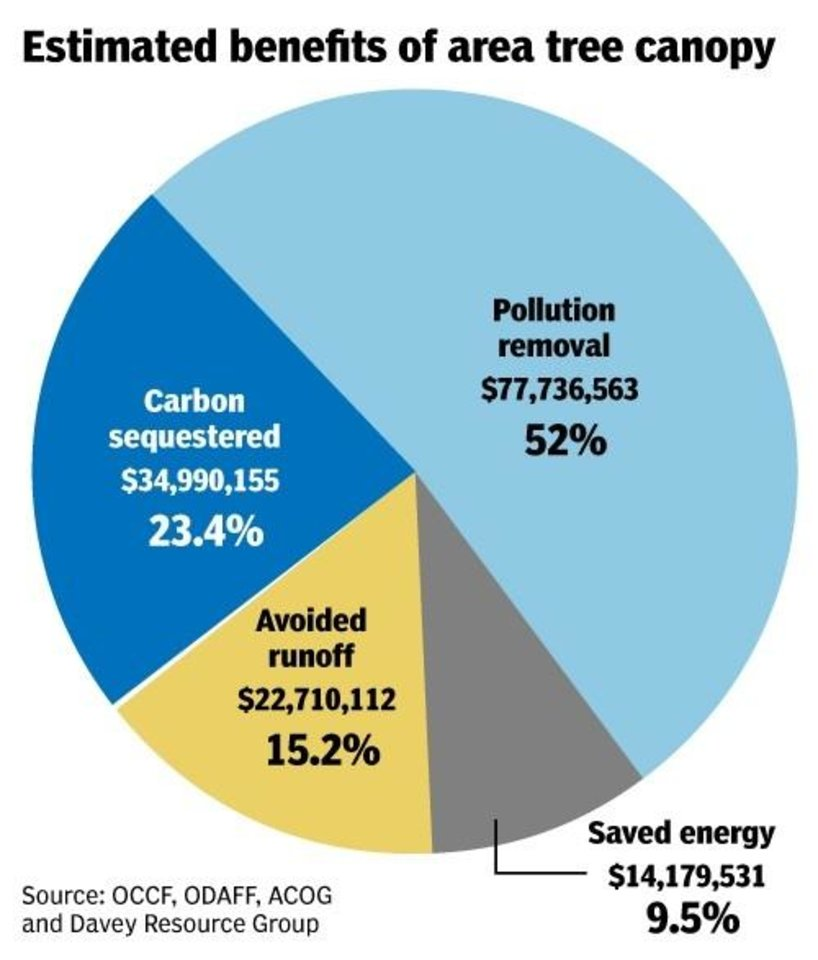 Photo -  Benefits from central Oklahoma's trees and their annual economic impacts are summarized by this graphic.