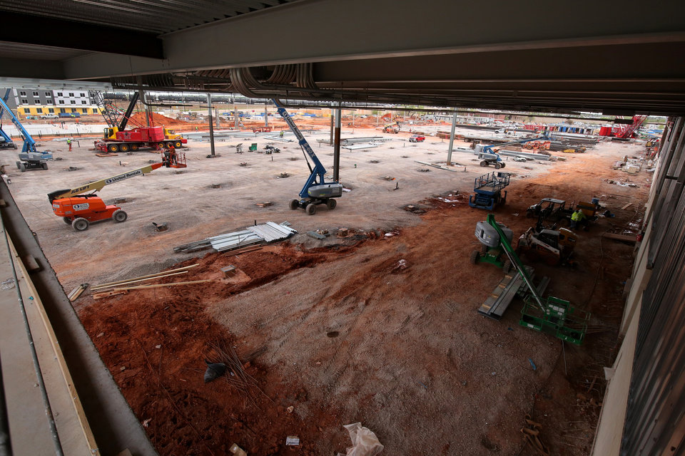 Photo - Second floor northwest corner of the main exhibit hall which is large enough for four football fields. City of Oklahoma City tour of the construction site for the new convention center, Friday, April 12, 2019. Photo by Doug Hoke/The Oklahoman