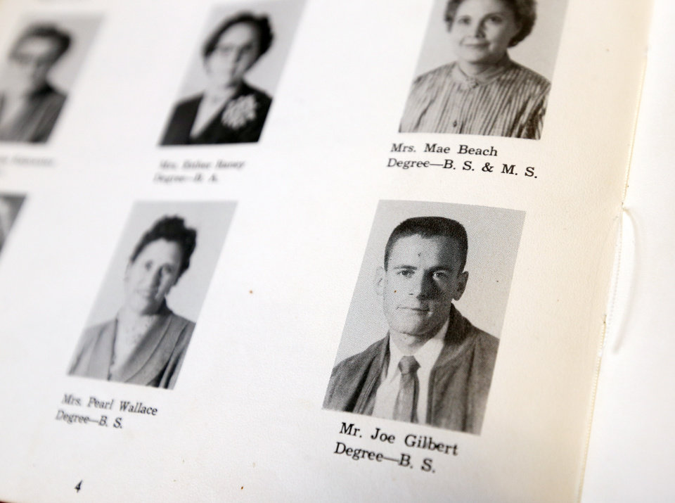 Photo - Coach Joe Gilbert shown in the yearbook for the 1954-1955 school year at Barnsdall High School in Barnsdall, Okla. Gilbert, currently the girls basketball coach, has coached at Barnsdall since 1954. [Nate Billings/The Oklahoman]