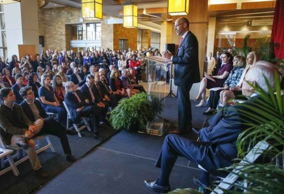 Photo -  Dr. Robert Mannel, director of the Stephenson Cancer Center, speaks during the announcement of a $20 million gift from Peggy and Charles Stephenson to the Stephenson Cancer Center. [Nate Billings/The Oklahoman]