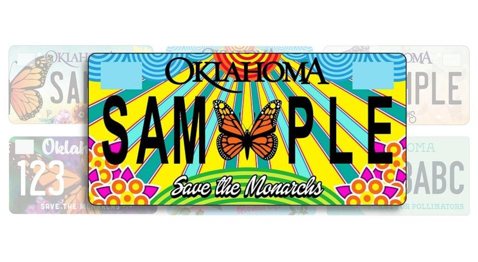 Photo - A vivid design by Mustang artist Rick Sinnett has been chosen to adorn a new specialty Oklahoma license plate aimed to save the monarch butterfly. [Photo provided]