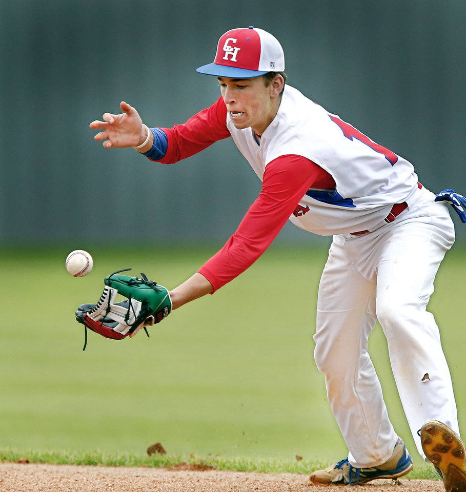 Photo - Christian Heritage second baseman Garrett French bobbles the baseball before catching it and throwing to first base during the Class 2A state quarterfinal game against Dale at Shawnee High School Thursday, May 9, 2019. Dale advances to the next round of playoffs, defeating Christian Heritage, 11-0.   [Jim Beckel/The Oklahoman]