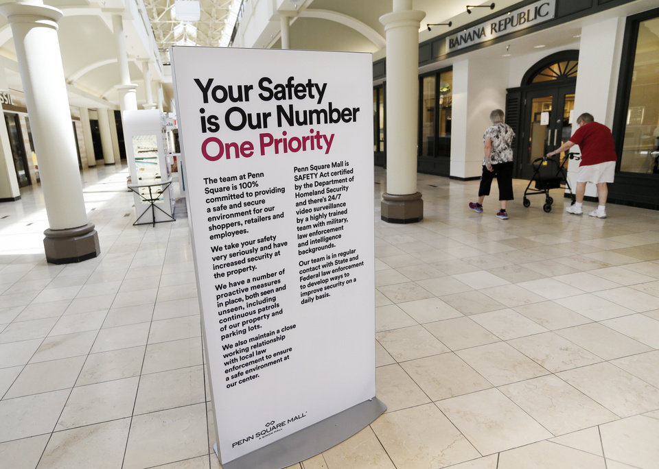 Photo - Penn Square Mall has re-opened after being closed because of the coronavirus pandemic, in Oklahoma City, Friday, May 1, 2020. [Nate Billings/The Oklahoman]