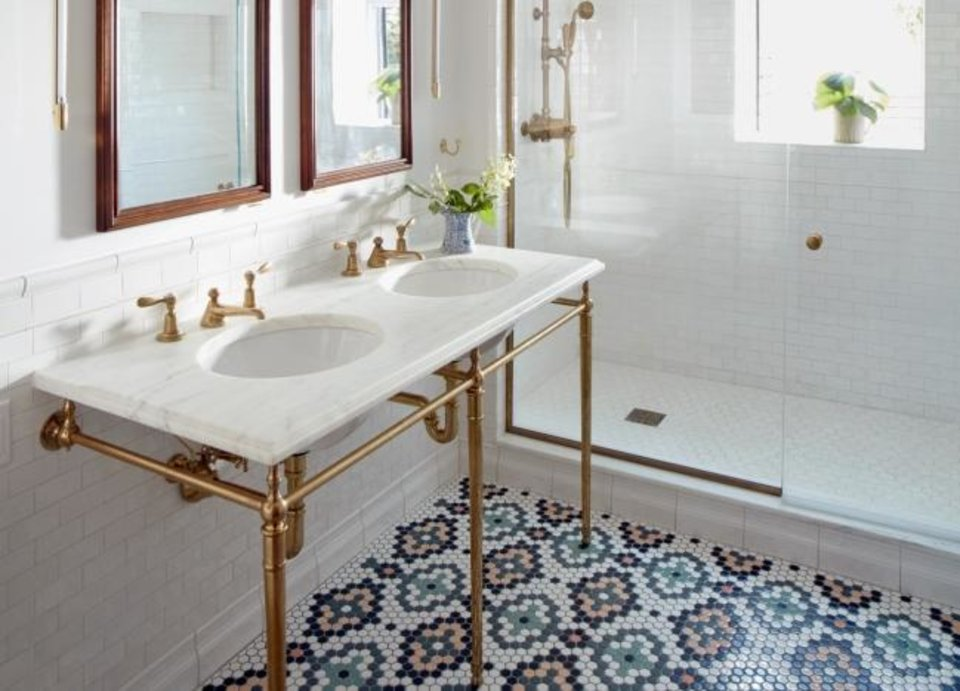 Photo -  The intricate tile pattern for this master bath was created by senior designer Chelsie Lee, of Jessica Helgerson Interior Design. [CHRISTOPHER STURMAN]