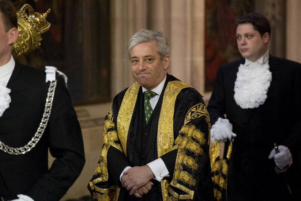 Photo -  FILE - In this Wednesday, June 4, 2014 file photo, Britain's Speaker of the House of Commons John Bercow he walks through Central Lobby before Britain's Queen Elizabeth II delivered the Queen's Speech at the State Opening of Parliament at the Palace of Westminster in London. A colorful era in British parliamentary history is coming to a close with Speaker of the House John Bercow's abrupt announcement Monday, Sept. 9, 2019 that he will leave his influential post by the end of October.  (AP Photo/Matt Dunham, Pool, File)