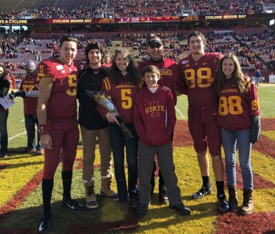 Photo -  Charlie Kolar (88) went to Iowa State after a standout career at Norman North High School. His older brother, John, (5) followed as a grad transfer a couple years later. Like they did last season during John's senior day, all the Kolars including brother Sam, second from left, mother, Maria, brother Ben, father, Randy and sister, Katie will be at the Big 12 title game Saturday. [PROVIDED]