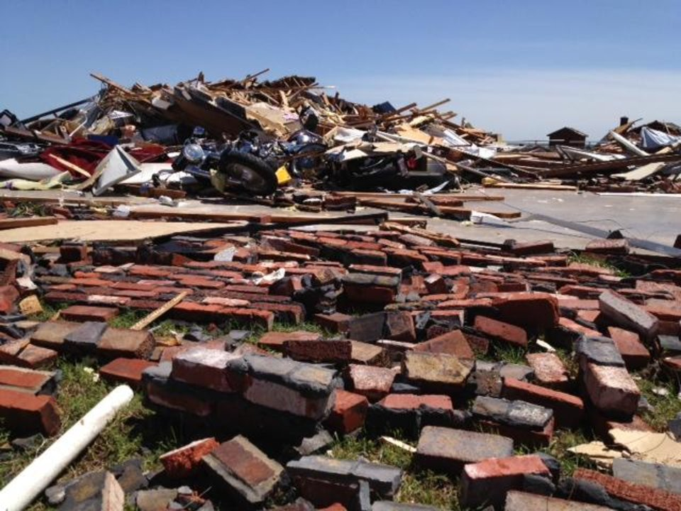 Photo - Home of Kay (male name) and Bonnie Merritt at 20545 SW 15. They were not at home when tornado came through. Photo by Jim Beckel