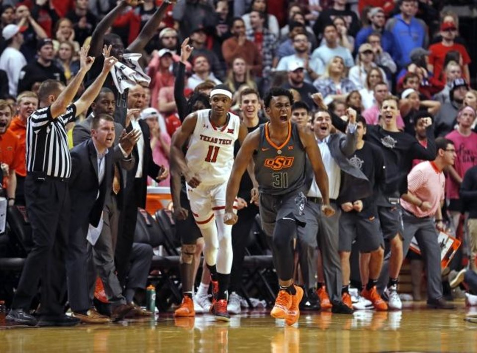 d73ed0720fc9 Oklahoma State s Dee Mitchell (31) reacts after his go-ahead 3-pointer in  Wednesday s loss to Texas Tech