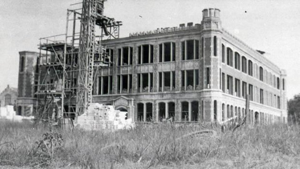 Photo -  Holmberg Hall under construction. It was first named The Auditorium. [Photo Provided by OU]