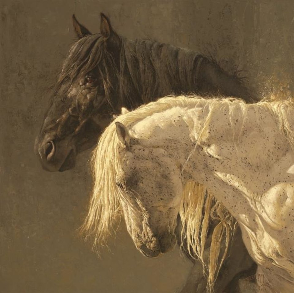 "Photo -  Wildlife painter Greg Beecham's ""Side by Side,"" an oil on linen priced at $21,000, shows two wild Utah stallions, one dark and one light, that Beecham has seen fight each other to try to become the ""herd boss,"" which includes mating rights. The painting will be featured in the 47th annual Prix de West Invitational Art Exhibition & Sale June 7-8 at the National Cowboy & Western Heritage Museum. [Image provided]"