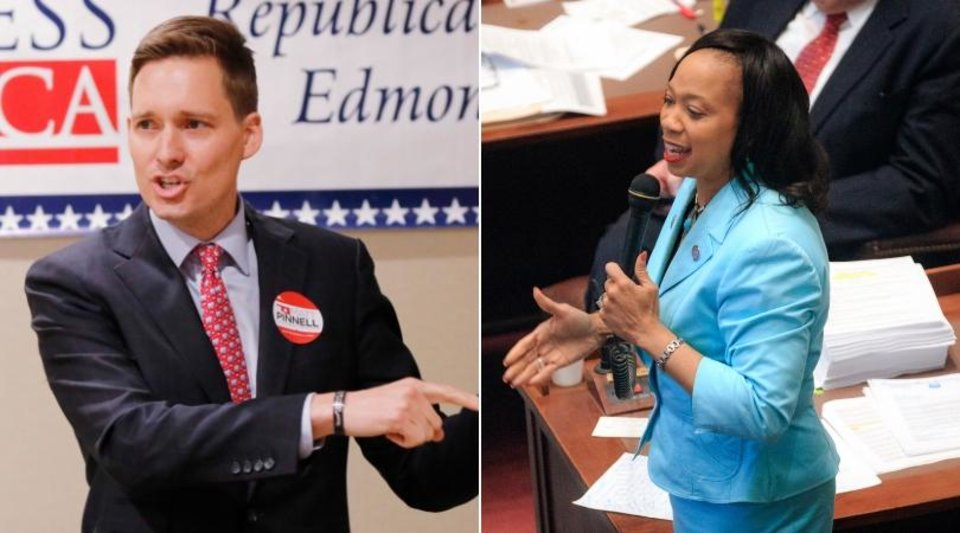 Photo - Lieutenant governor candidates Matt Pinnell and Sen. Anastasia Pittman. [The Oklahoman archives]