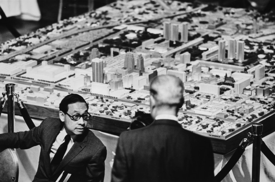 Photo - Scale model of a new downtown Oklahoma City, background, is explained by urban renewal planning consultant I.M. Pei, left. Oklahoma City Times staff photo by Tony Wood dated December 10, 1964. Original from Oklahoman print archive, copied Friday, April 30, 2010. Copy photo by Doug Hoke, The Oklahoman. ORG XMIT: KOD