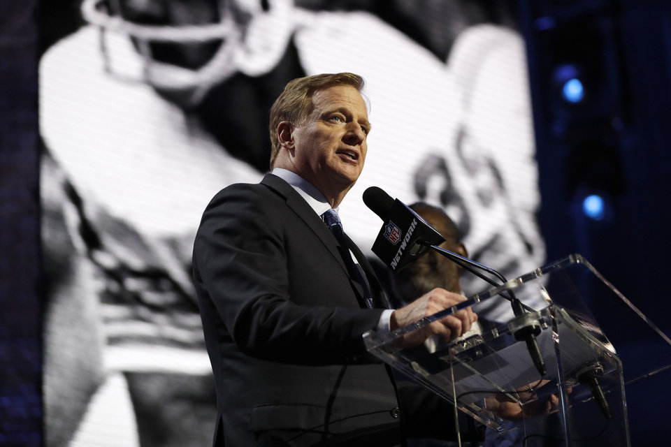 Photo - NFL Commissioner Roger Goodell speaks ahead of the first round at the NFL football draft, Thursday, April 25, 2019, in Nashville, Tenn. (AP Photo/Mark Humphrey)
