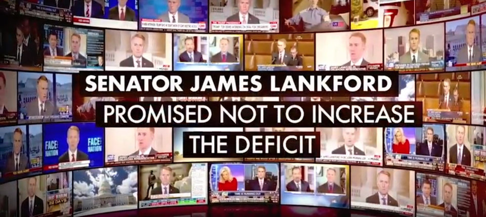 Photo -  A television ad that began airing Monday in Oklahoma City attempts to pressure U.S. Sen. James Lankford, R-Oklahoma City, into voting against a Senate tax reform bill. [Screenshot/YouTube]