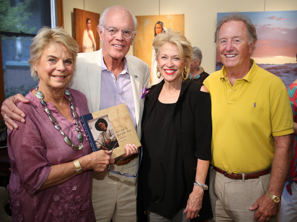 Photo - Kathy Rodgers, George Wilson, with Beth and Jim Hammack, at the Western Heritage Brunch at JRB Art at the Elms gallery, Sunday, June 11, 2017. Photo by Doug Hoke