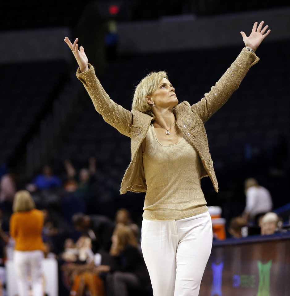Photo - Baylor coach Kim Mulkey reacts after her team made a three-point shot late in the second quarter during the Big 12 Women's Basketball Championship final between the Texas Longhorns and the Baylor Lady Bears at Chesapeake Energy Arena in Oklahoma City, Monday, March 7, 2016. Photo by Nate Billings, The Oklahoman