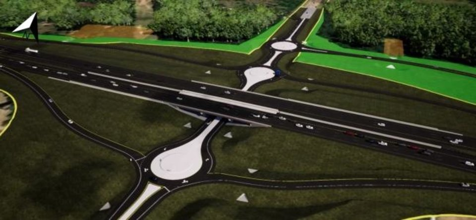 Photo -  A screengrab from an Oklahoma Department of Transportation presentation shows proposed roundabouts on McLoud Road at the I-40 interchange. [Provided]