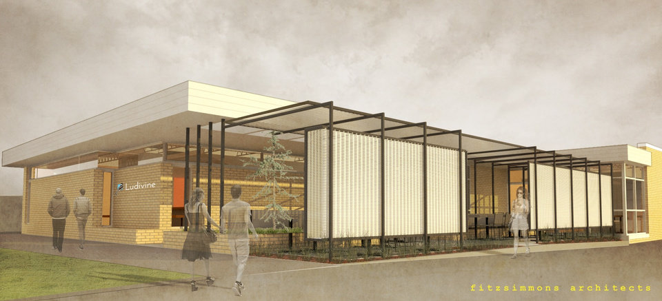 Photo -  A screened, expanded patio will be added at the future home of Ludivine at 320 NW 10. The building, built in 1956, was originally home to a print shop. [Rendering provided by Fitzsimmons Architects]