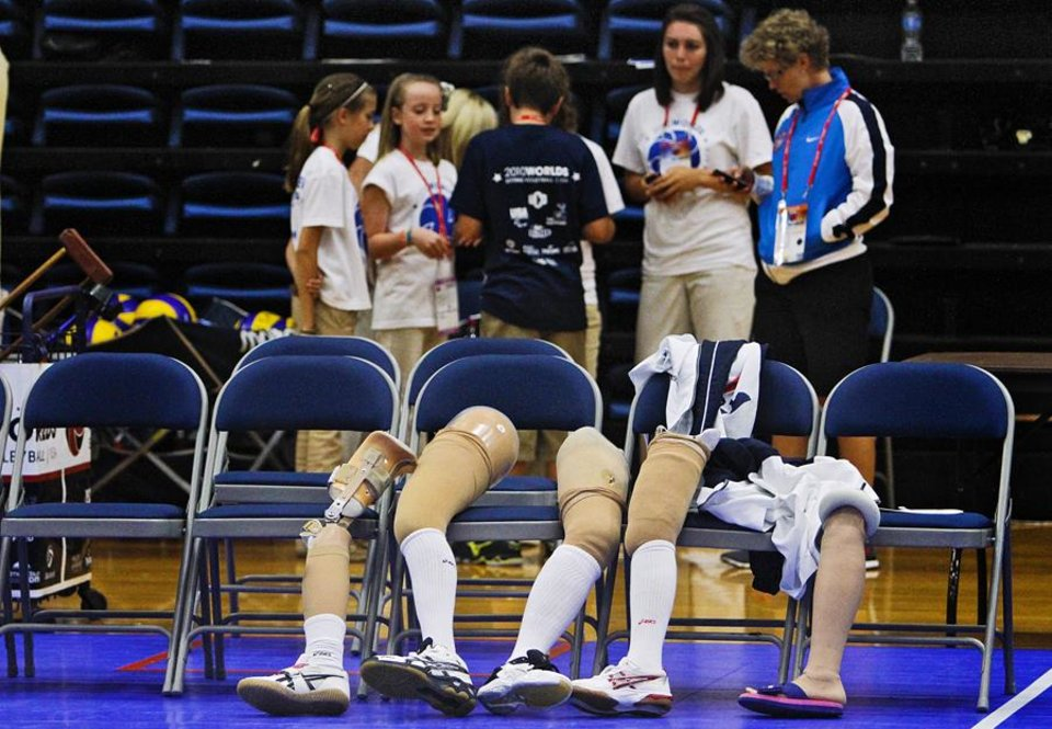 Photo -  UCO: Prosthetics sit against chairs as the USA women take on Japan during the 2010 World Championships of Sitting Volleyball at the University of Central Oklahoma on Monday, July 12, 2010, in Edmond, Okla.   Photo by Chris Landsberger, The Oklahoman ORG XMIT: KOD