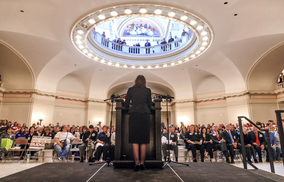Photo - Oklahoma State Superintendent Joy Hofmeister speaks during a rally to support the Step Up Oklahoma Plan at the state capitol in Oklahoma City, Okla. on Monday, Feb. 12, 2018.    Photo by Chris Landsberger, The Oklahoman