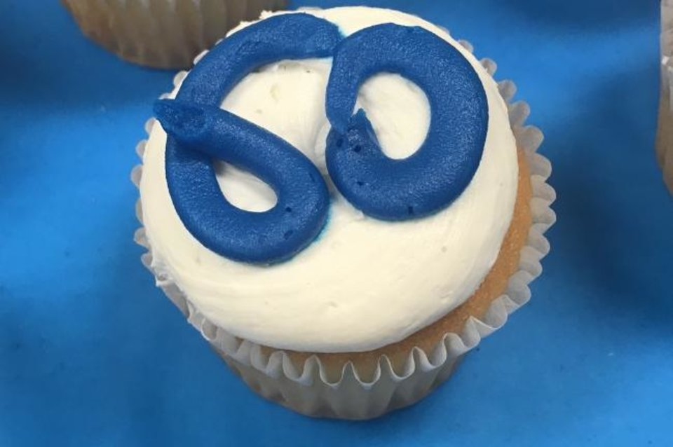 Photo -  Cupcakes were served to guests attending a May 16 reception celebrating the 60th anniversary of the Rev. Marvin Leven's ordination to the priesthood. [Carla Hinton/The Oklahoman]