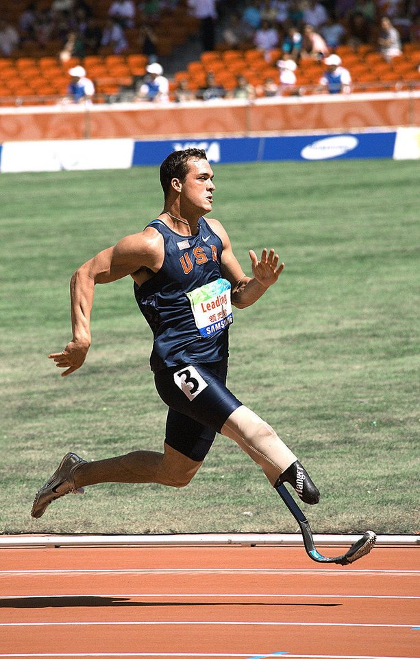 Photo - Jeremy Campbell, of Edmond, will compete in the upcoming 2012 London Paralympic Games wearing a carbon fiber prosthetic leg designed by Oklahoma City Prosthetist Chad Simpson of Hanger Clinic. Photo provided.