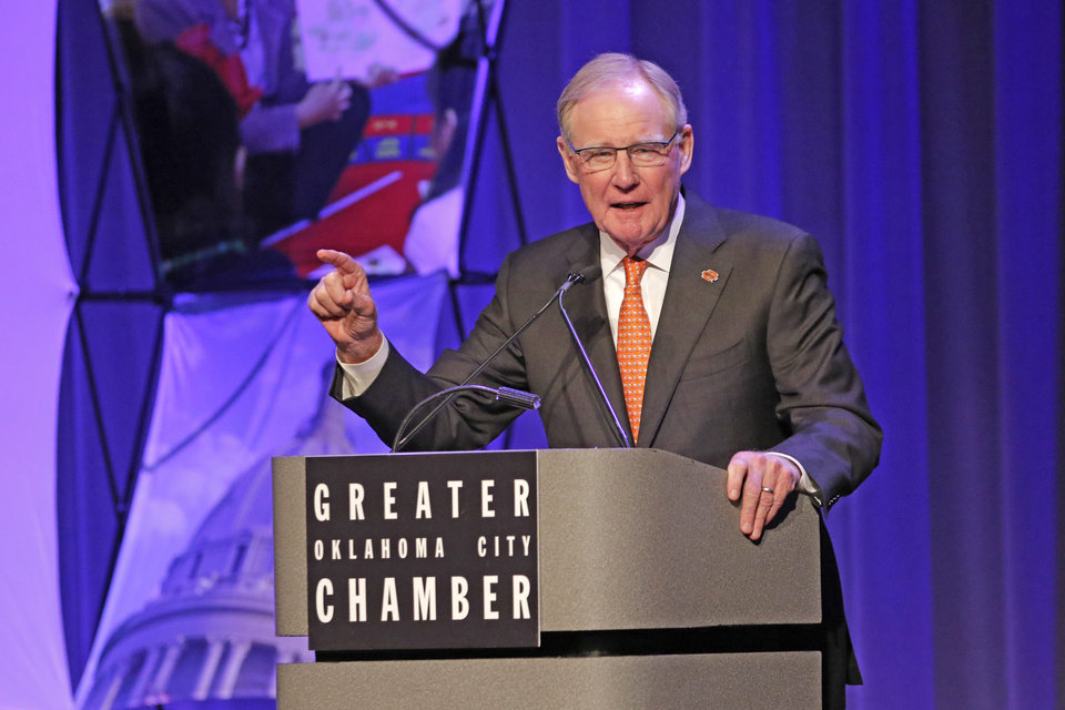 Photo - Burns Hargis, President of Oklahoma State University speaks during the State of the Schools event at the National Cowboy & Western Heritage Museum in Oklahoma City, Wednesday August 23, 2017. Photo By Steve Gooch, The Oklahoman