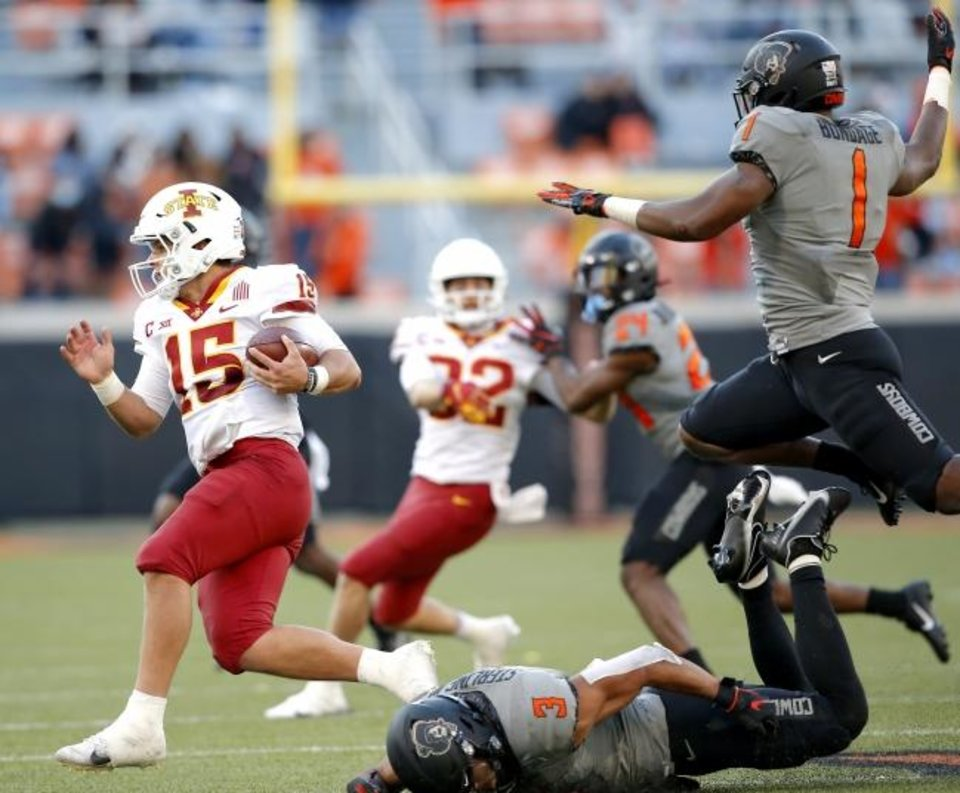 Photo -  Iowa State quarterback Brock Purdy (15) ran for 38 yards and a touchdown Saturday, but this time he didn't leave Stillwater with a win. [Sarah Phipps/The Oklahoman]