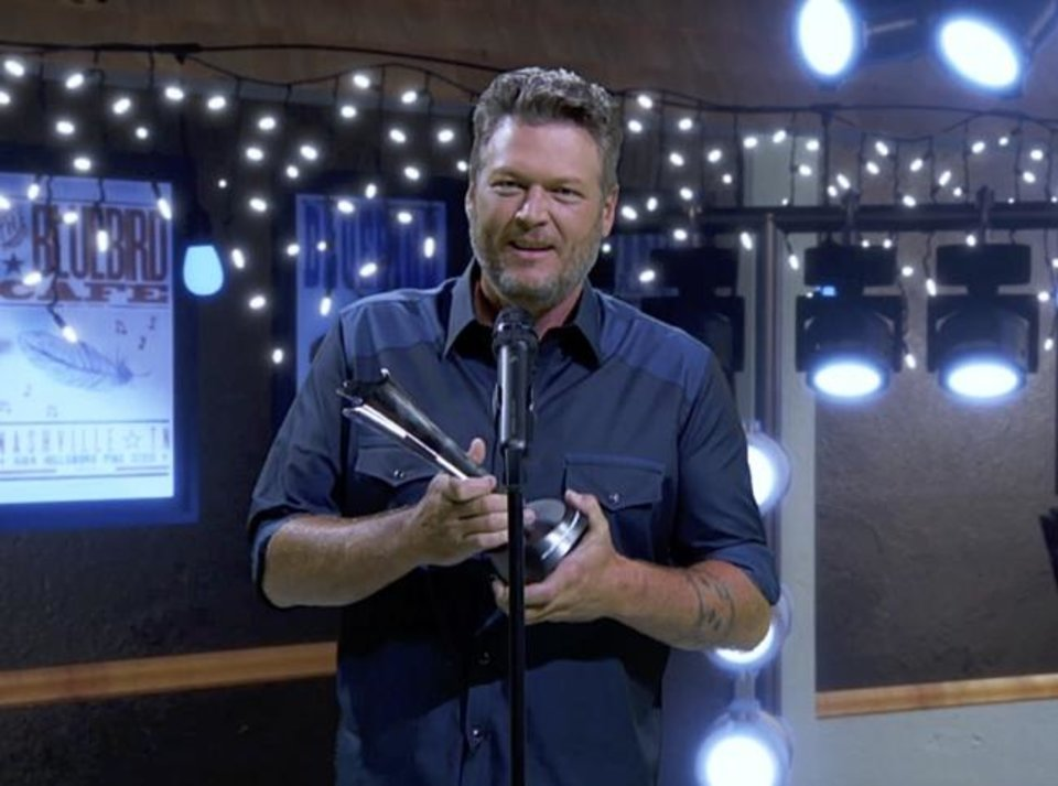 Photo -  Blake Shelton wins Single of the Year on the 55th Academy of Country Music Awards. [Brent Harrington/CBS]