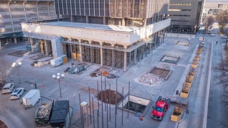 Photo -  The plaza surrounding BancFirst Tower is being rebuilt for the first time since it opened as the home to Liberty Bank in 1971. The exterior renovation also includes removal of every other column around the tower's podium and a complete redesign of the facade. Photo by Dave Morris, The Oklahoman.