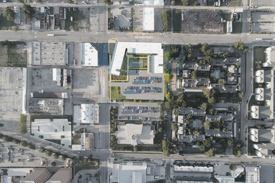 Photo -  700 West site plan for NW 4 and Shartel Avenue is shown. Gardner Architects.
