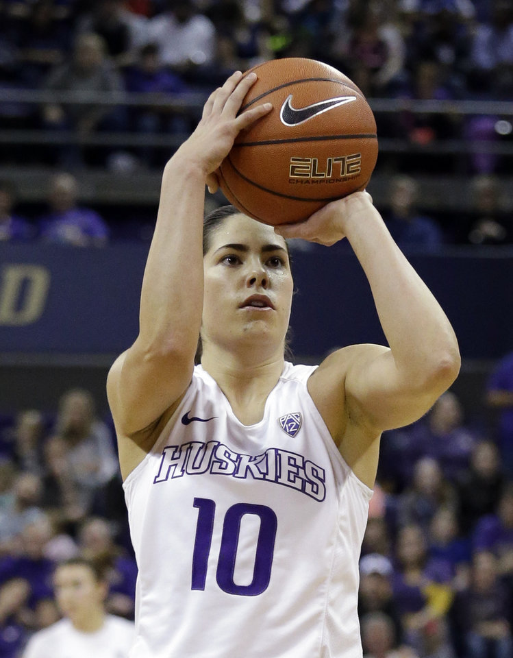 Photo -  Washington's Kelsey Plum goes into Monday's 8 p.m. NCAA Tournament game against Oklahoma with 3,460 career points, the most in NCAA Division I history. [AP PHOTO]