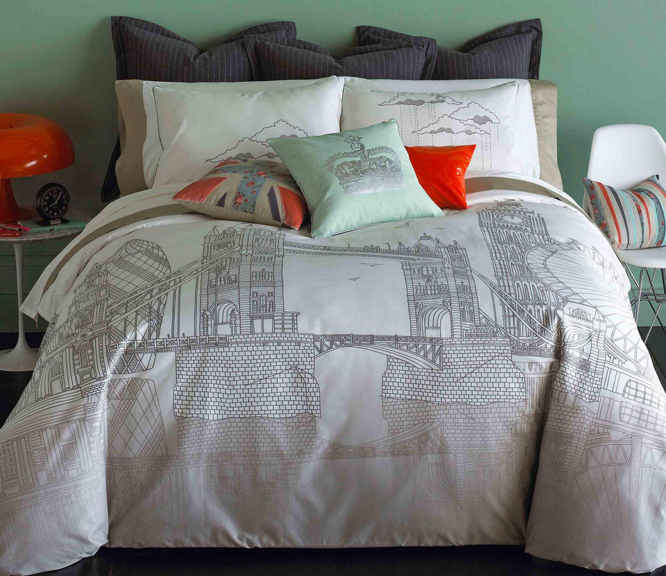 Photo - This product image courtesy of Bliss Living Home shows their London Bridge printed bedding and British inspired throw pillows. While Paris has been dear to home decorators for several years, we're seeing the look of London more and more in the newest furnishings and accessories.     (AP Photo/Bliss Living Home)