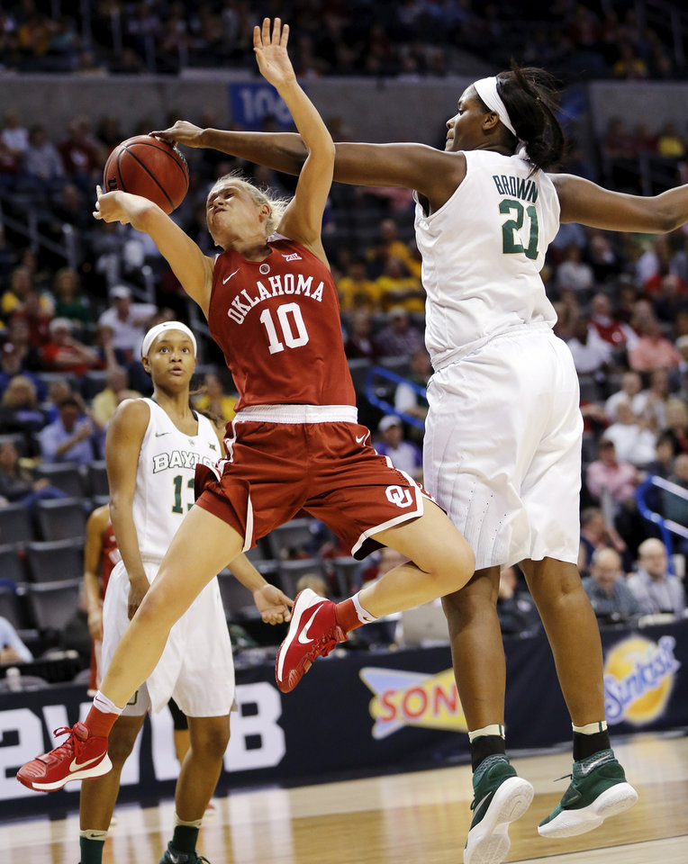 Photo - Baylor's Kalani Brown (21) blocks the shot of Oklahoma's Peyton Little (10) during a semifinal game in the Big 12 Women's Basketball Championship between the Oklahoma Sooners (OU) and the Baylor Lady Bears at Chesapeake Energy Arena in Oklahoma City, Sunday, March 6, 2016. Photo by Nate Billings, The Oklahoman