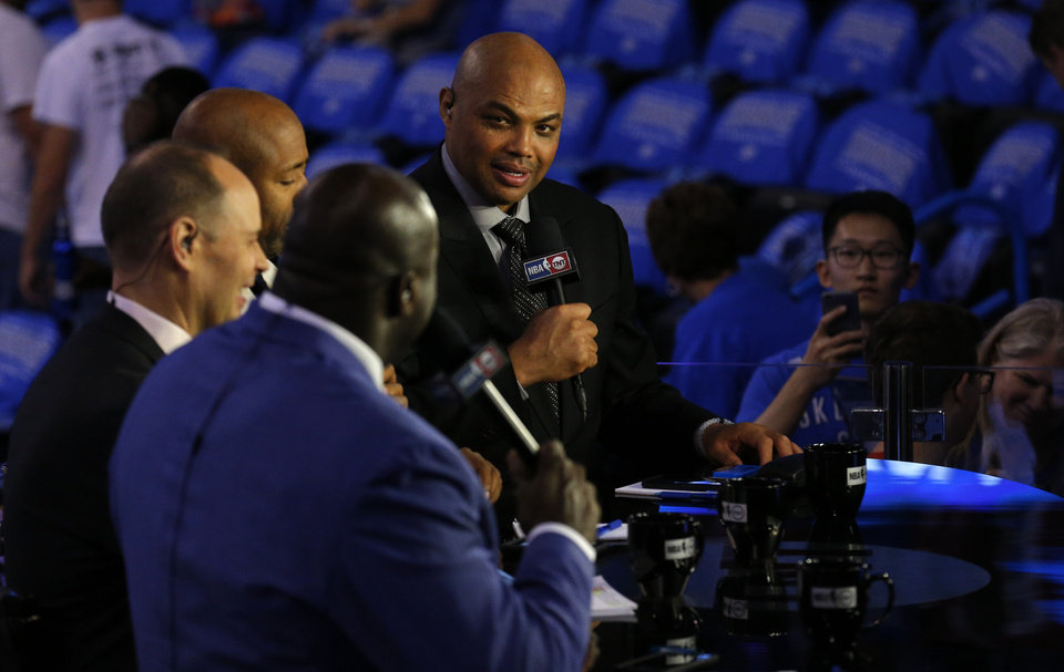 Photo - Charles Barkley prepares for the TNT broadcast before Game 6 of the Western Conference finals in the NBA playoffs between the Oklahoma City Thunder and the Golden State Warriors at Chesapeake Energy Arena in Oklahoma City, Saturday, May 28, 2016. Photo by Sarah Phipps, The Oklahoman