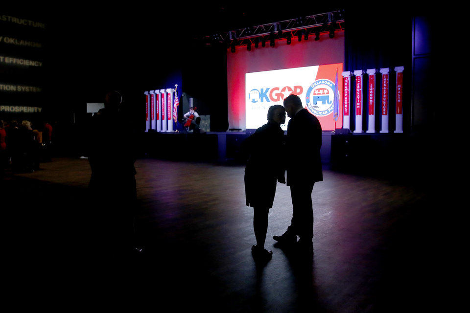 Photo - People wait for election results during the Republican election night watch party for the 2018 elections at the Bricktown Events Center in Oklahoma City, Nov. 6, 2018. Photo by Bryan Terry, The Oklahoman