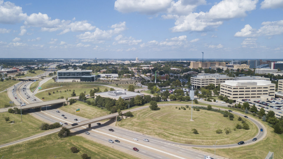 Photo -  An aerial photo looks north from NE 4 and Walnut at the Oklahoma City Energy Innovation Center run by Baker Hughes, a GE company, far left, and various medical and research buildings at right. [Photo by Dave Morris, The Oklahoman]