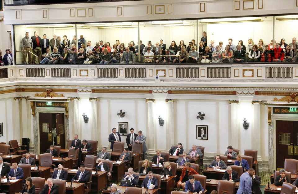 Photo - All seats in the gallery of the House chambers were taken as debate began Wednesday on a $132 million funding bill that if approved would have all but ended the state budget crisis. [Photo by Jim Beckel, The Oklahoman]