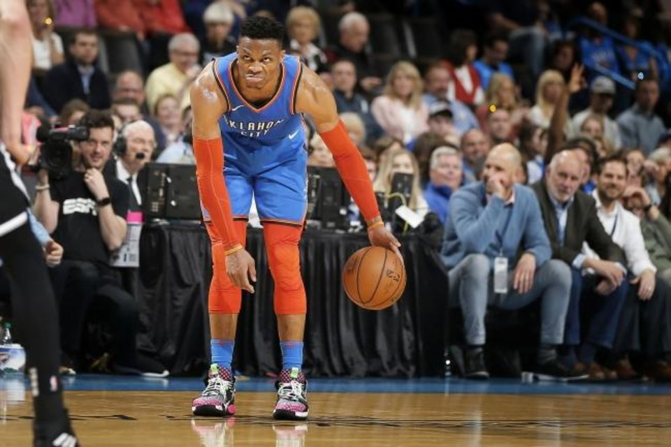 Photo -  Oklahoma City's Russell Westbrook (0) is suspended for Monday night's game against the Heat after receiving his 16th technical foul of the season on Saturday night. [Bryan Terry/The Oklahoman]