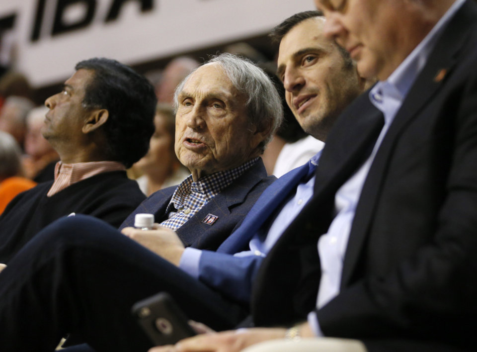 Photo - Eddie Sutton and Doug Gottlieb watch during an NCAA college basketball game between the Oklahoma State University Cowboys (OSU) and Baylor at Gallagher-Iba Arena in Stillwater, Okla., Wednesday, Jan. 27, 2016. Oklahoma State lost 69-65. Photo by Bryan Terry, The Oklahoman