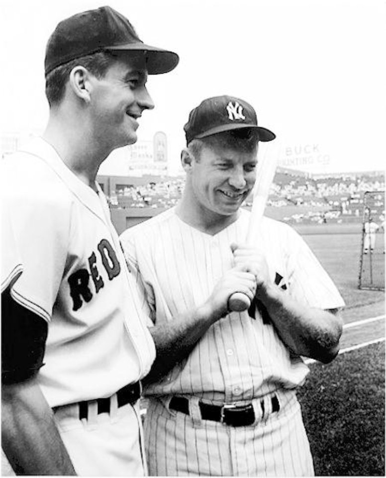 Photo - Boston Red Sox baseball player, Don Schwall with New York Yankees baseball player, Mickey Mantle.
