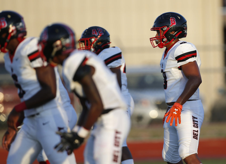 Photo - Del City's Rejhan Tatum lines up for a play during the high school football game between Carl Albert and Del City at Carl Albert High School in Midwest City, Okla., Friday, Sept. 13, 2019. [Sarah Phipps/The Oklahoman]