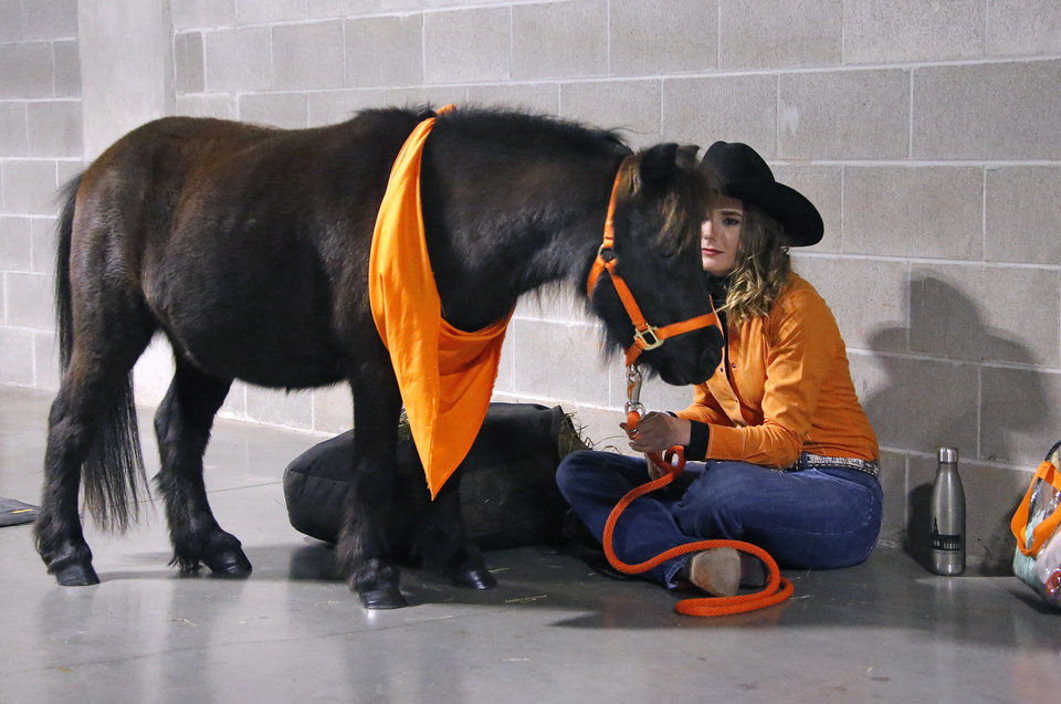 Photo - BB gets ready before the college football game between the Oklahoma State University Cowboys and the TCU Horned Frogs at Boone Pickens Stadium in Stillwater, Okla.,  Saturday, Nov. 2, 2019. [Sarah Phipps/The Oklahoman]