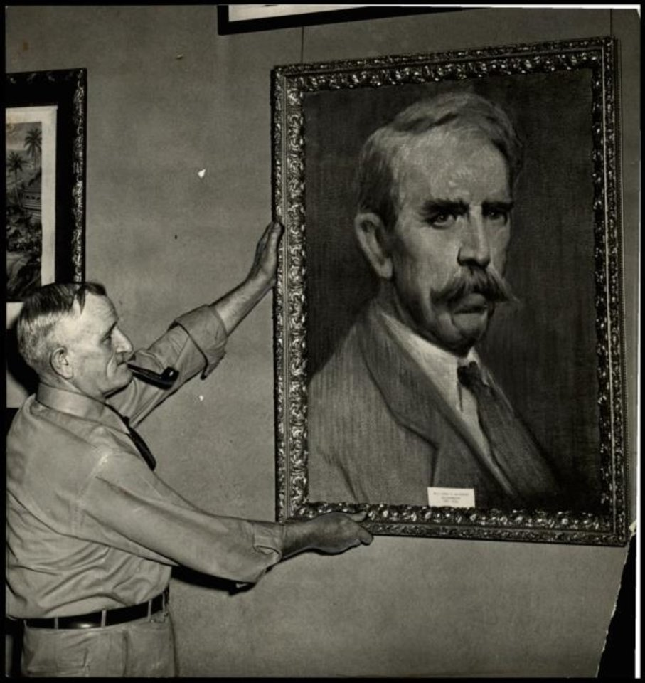 Photo -  This huge and handsome likeness of William H. Murray was placed among several other pictures of the former governor at the Oklahoma Historical Society in a 1942 display. The wife of 'Alfalfa Bill' painted the picture. [PROVIDED BY THE OKLAHOMA HISTORICAL SOCIETY]